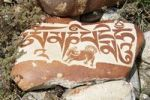 Thumbnail Tibetan Buddhism, Mani stone with Tibetan script and an animal motif, former monastery of Nyengo Gompa above Lake Manasarovar, Mapham Yutsho, Kailash area, Ngari, Trans-Himalaya, Himalayas, West T