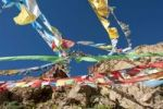 Thumbnail Colorful prayer flags fluttering in the wind, Tibetan Buddhism, Choku Gompa monastery, pilgrims' path, Kora path around Mount Kailash, Gang Rinpoche mountain, Ngari Prefecture, Gangdise Mountains,