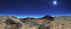 Thumbnail 360 ° panorama of the Pico Viejo volcano and Pico del Teide mountain with a woman standing at the edge of a crater, Teide National Park, Tenerife, Canary Islands, Spain, Europe