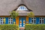 Thumbnail Orange rhatched house with blue shutters and doors, Wieck, Darss, Mecklenburg-Western Pomerania, Germany, Europe