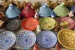 Thumbnail Colourful handmade ceramics ready for sale as souvenirs, Berber village of Chenini near Tataouine, Southern Tunisia, Tunisia, Maghreb, North Africa, Africa