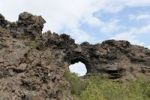 Thumbnail Volcanism, cooled lava field, round hole in rocks, strangely shaped rock formations, Dimmuborgir, Lake Myvatn region, Myvatn, Iceland, Scandinavia, Northern Europe, Europe