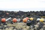 Thumbnail Buoys, swimmers, floating debris, stranded goods, near Dritvík, Snæfellsnes peninsula, Ísland, Iceland, Scandinavia, Northern Europe, Europe