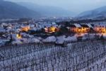 Thumbnail Snow-covered vineyards in the evening twilight, Weissenkirchen in Wachau, Waldviertel, Forest Quarter, Lower Austria, Austria, Europe