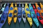 Thumbnail sea kayaks at the harbour of Valdez Alaska USA
