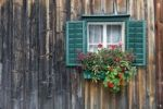 Thumbnail Traditional wooden house, alpine cabin with green window frames and geraniums, Salzkammergut, Austria, Europe