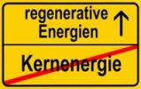 Thumbnail Symbolic image in the form of a town sign, in German, exit from nuclear energy, entrance into regenerative energy sources