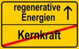 Thumbnail Symbolic image in the form of a town sign, in German, exit from nuclear power, entrance into regenerative energy sources