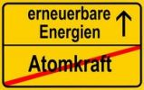 Thumbnail Symbolic image in the form of a town sign, in German, exit from atomic power, entrance into renewable energy sources