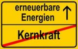Thumbnail Symbolic image in the form of a town sign, in German, exit from nuclear power, entrance into renewable energy sources