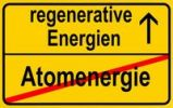 Thumbnail Symbolic image in the form of a town sign, in German, exit from atomic energy, entrance into regenerative energy sources