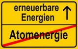 Thumbnail Symbolic image in the form of a town sign, in German, exit from atomic energy, entrance into renewable energy sources