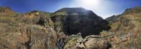 Thumbnail 360° panorama with hiker, canyon of the Barranco de Guarimiar, La Gomera, Canary Islands, Spain, Europe
