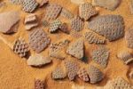 Thumbnail Pieces of historic pottery, Tadrart, Tassili n'Ajjer National Park, Unesco World Heritage Site, Algeria, Sahara, North Africa