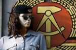 Thumbnail Manikin with uniform in front of the coat of arms of the former German Democratic Republic, GDR, Berlin, Germany, Europe