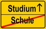 Thumbnail Sign, city limit, symbolic image for the transition from Schule or school to Studium or academic studies