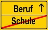 Thumbnail Sign, city limit, symbolic image for the transition from Schule or school to Beruf or work