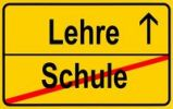 Thumbnail Sign, city limit, symbolic image for the transition from Schule or school to Lehre or apprenticeship