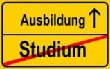 Thumbnail Sign, city limit, symbolic image for the transition from Studium or academic studies to Lehre or vocational training