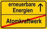Thumbnail City limit sign, symbolic image in German for phasing out nuclear power stations and entering into renewable energy sources