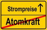 Thumbnail City limit sign, symbolic image in German for phasing out nuclear power stations and rising energy costs, electricity prices