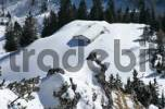 Thumbnail view from the Jenner on a snow covered hut, Berchtesgadener Land, Bavaria, Germany