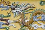 Thumbnail Dragon figure made of porcelain fragments on a yellow wall, Hoang Thanh Imperial Palace, Forbidden City, Hue, UNESCO World Heritage Site, Vietnam, Asia