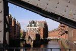 Thumbnail Canal with Wasserschloesschen, bridge in the foreground, Speicherstadt historic warehouse district, Hamburg, Germany, Europe