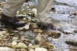 Thumbnail A hiker walking through the shallow Wutach River in the Black Forest, Baden-Wuerttemberg, Germany, Europe