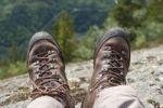 Thumbnail Hiking, trekking, pair of hiking boots, Lårdalstigen near Dalen, Lardalstigen, Telemark, Norway, Scandinavia, Northern Europe, Europe