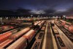 Thumbnail Night shot, freight trains at Maschen railway yard near Hamburg, Germany, Europe, PublicGround