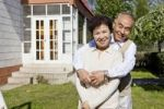 Thumbnail Elderly Asian couple standing in garden, China, Asia
