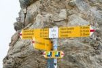 Thumbnail Yellow sign of the Swiss Alpine Club, SAC, in front of rocks, Hohtuerli Pass 2778 m, between Griesalp and Kandersteg, the Alps, Bernese Oberland, Canton of Bern, Switzerland, Europe
