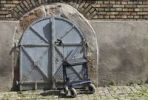 Thumbnail Rollator or wheeled walker in front of the basement access of a house, Germany, Europe