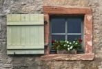 Thumbnail Window with shutters and geraniums, Eberbach, Hesse, Germany, Europe