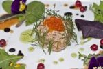 Thumbnail Salmon tartare, salmon caviar, dill, basil oil, balsamic reduction, black currants, wild herbs