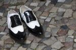 Thumbnail Men's patent leather shoes on cobblestones, Berlin, Germany, Europe