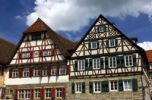 Thumbnail Kocherfront, historical ensemble of half-timbered houses alongside the Kocher River in the historic town centre of Schwaebisch Hall, Baden-Wuerttemberg, Germany, Europe