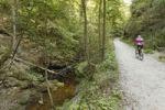 Thumbnail Cyclist, Kiental Valley between Herrsching and Andechs, Fuenfseenland, Five Lakes region, Upper Bavaria, Bavaria, Germany, Europe, PublicGround
