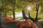 Thumbnail Tables from the beer garden of Maisinger Seehof, Lake Maising near Maising, community of Poecking, Fuenfseenland, Five Lakes region, Upper Bavaria, Bavaria, Germany, Europe, PublicGround