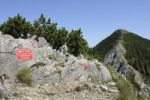 Thumbnail Ridge to the summit of Brecherspitze Mountain, Schlierseer Mountains, Mangfallgebirge Mountains, warning sign for a dangerous alpine area, Upper Bavaria, Bavaria, Germany, Europe, PublicGround