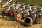 Thumbnail man on the banks of Irrawaddy river with Martarban pots, Kyauk Myaung, Myanmar