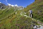 Thumbnail Hiker on his way to the Ultner Hochwart, Ulten Valley, Mandelspitze mountain at the back, Ulten in spring, province of Bolzano-Bozen, Italy, Europe
