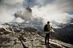 Thumbnail Hiker in Tre Cime di Lavaredo or Drei Zinnen region in autumn, Dolomite Alps, Italy, Europe