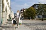 Thumbnail Young woman shopping in the city, Sonneberg, Thuringia, Germany, Europe