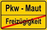 Thumbnail City limits sign with the words Pkw - Maut and Freizuegigkeit, German for car toll and freedom of movement, symbolic image for the end of the freedom of movement through the introduction of a car