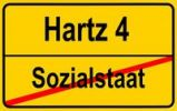 Thumbnail City limits sign with the words Hartz 4 and Sozialstaat, symbolic image for the end of the welfare state through the Hartz 4 reform