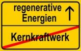 Thumbnail City limits sign with the words regenerative Energien and Kernkraftwerk, German for renewable energy and nuclear power station, symbolic image for the end of nuclear power through the use of renew
