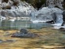 Thumbnail Boulders and rocks in the river bed of the golden coloured Soca river in Soca Valley near Bovec, Triglav National Park, Slovenia, Europe