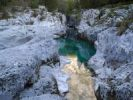Thumbnail Narrow gorge overlooking turquoise Soca river, Soca valley near Bovec, Triglav National Park, Slovenia, Europe